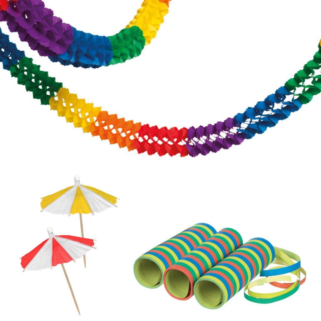 Girlanden, Luftschlangen, Papier-Schirme