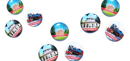 3 Stück zum Sonderpreis: Kühlschankmagnete Bad Doberan, Pinnwand-Magneten oder auch Magnetbuttons